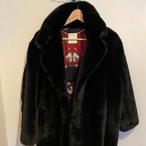 Brand new black Sandro faux fur winter coat